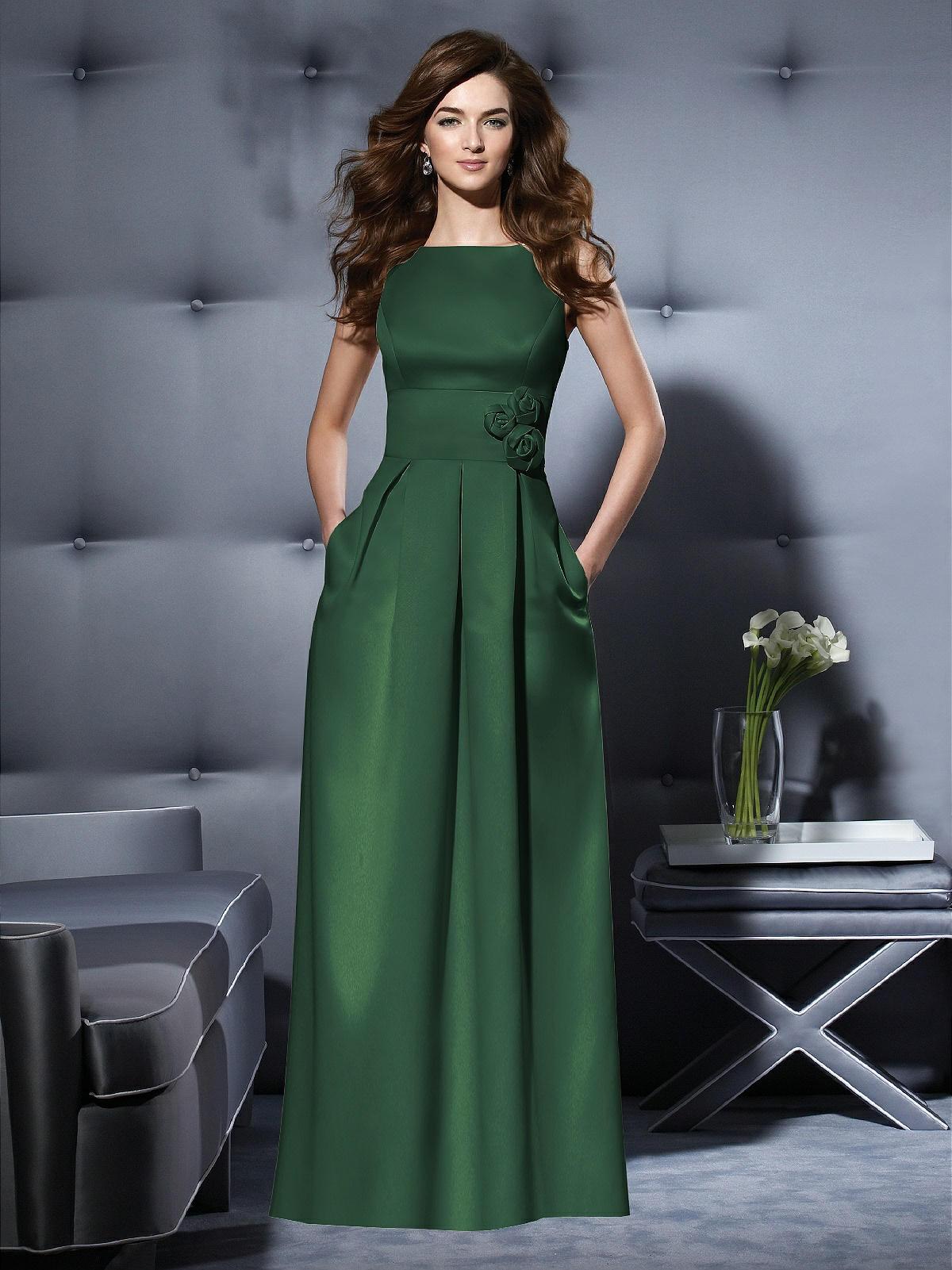 dark green satin bridesmaid dress