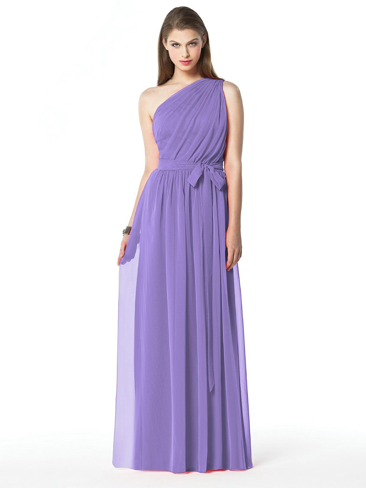 purple one shoulder bridesmaid dress