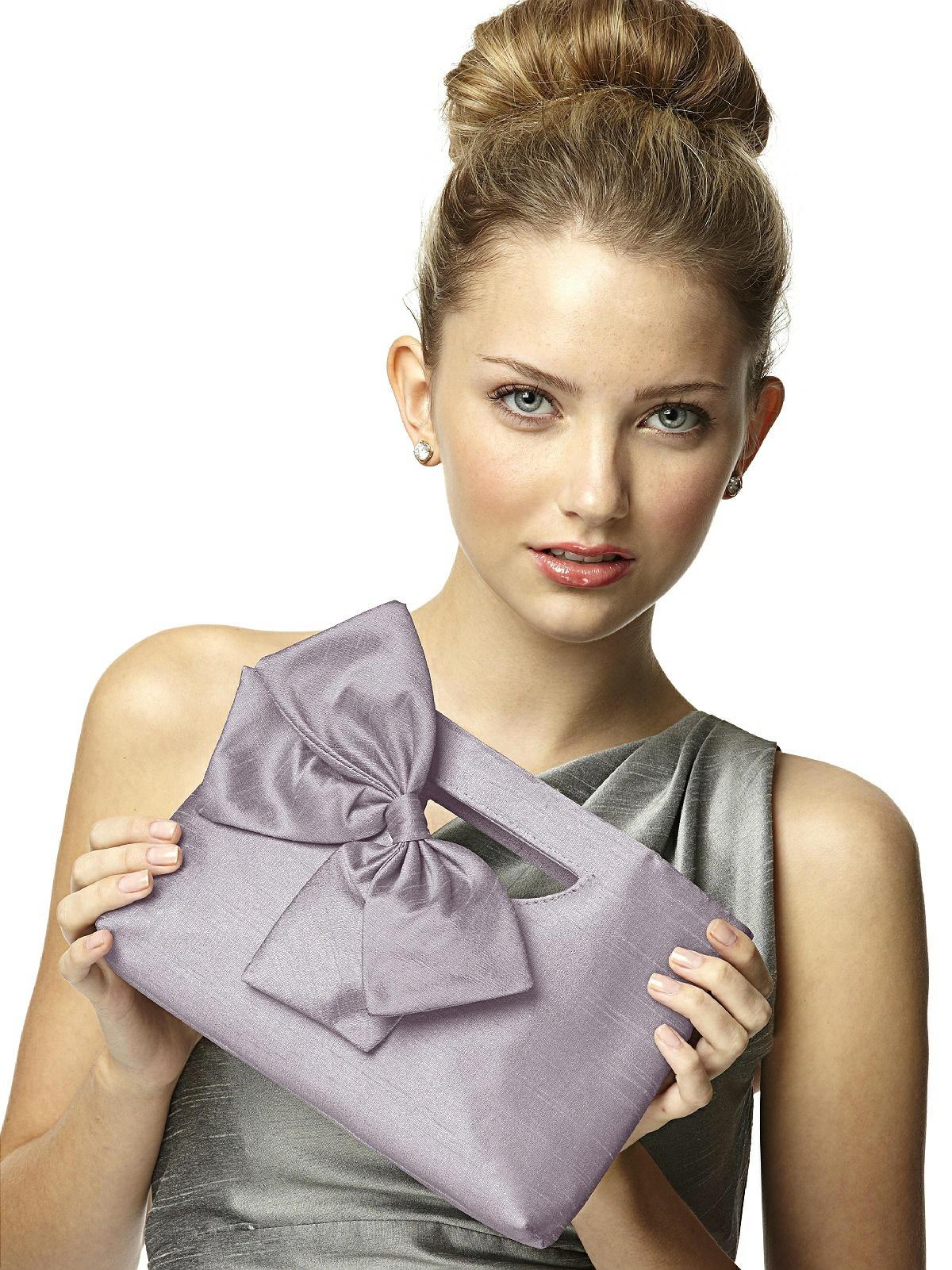 silk dupion clutch bag in lilac