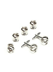Silver Knot Cufflink and Stud Set