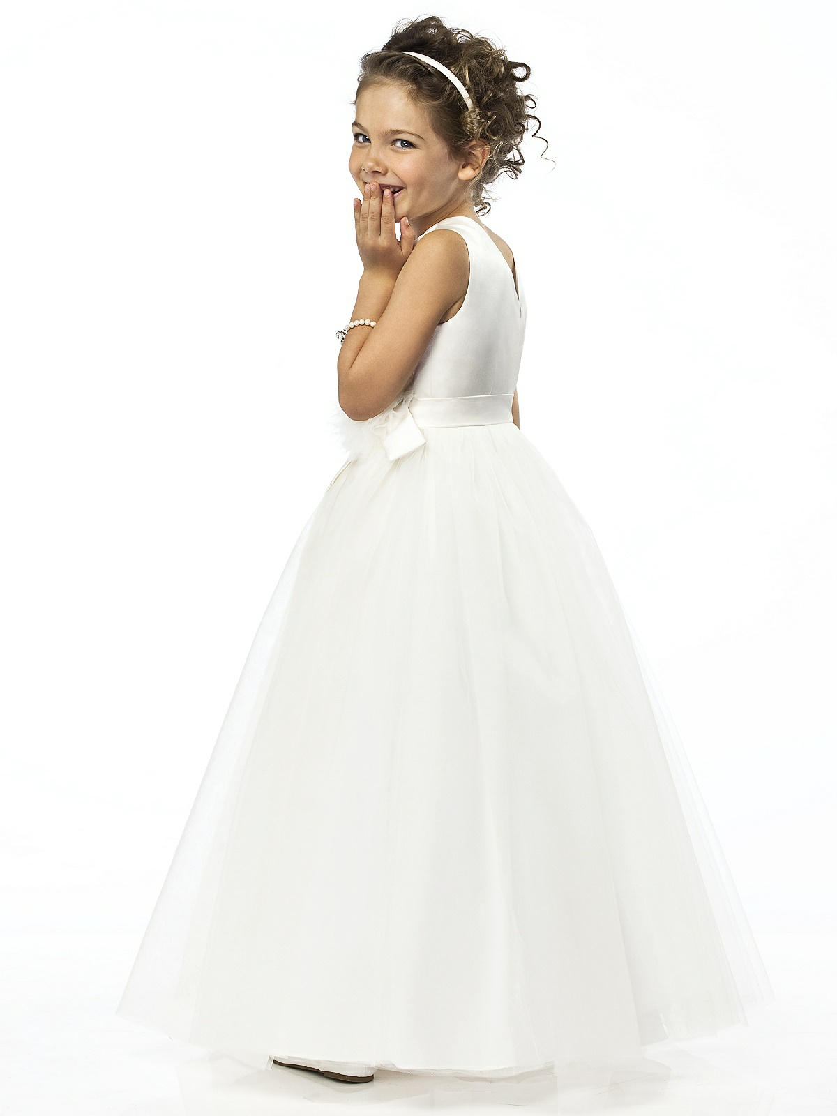 white organza flowergirl dress