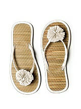Pom Pom Flower Trimmed Bridesmaid and Bridal Flip Flop