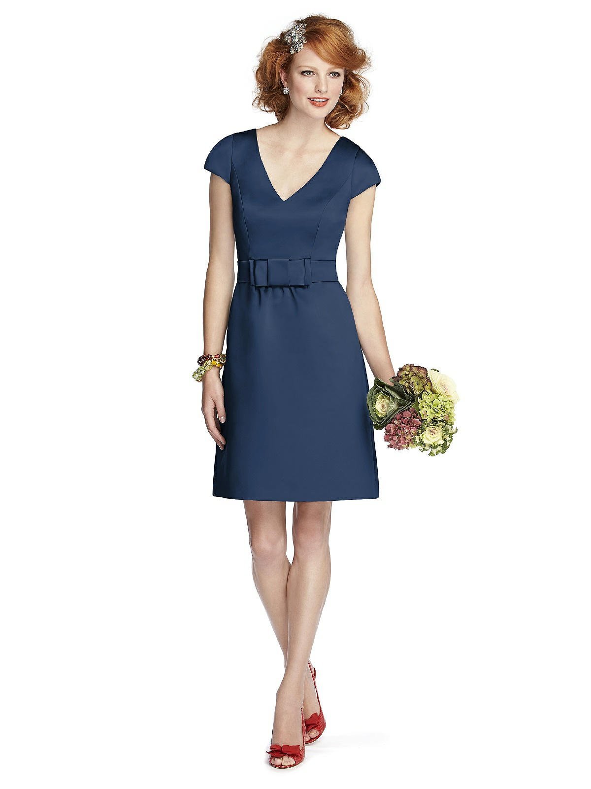 midnight blue bridesmaid dress short with sleeves