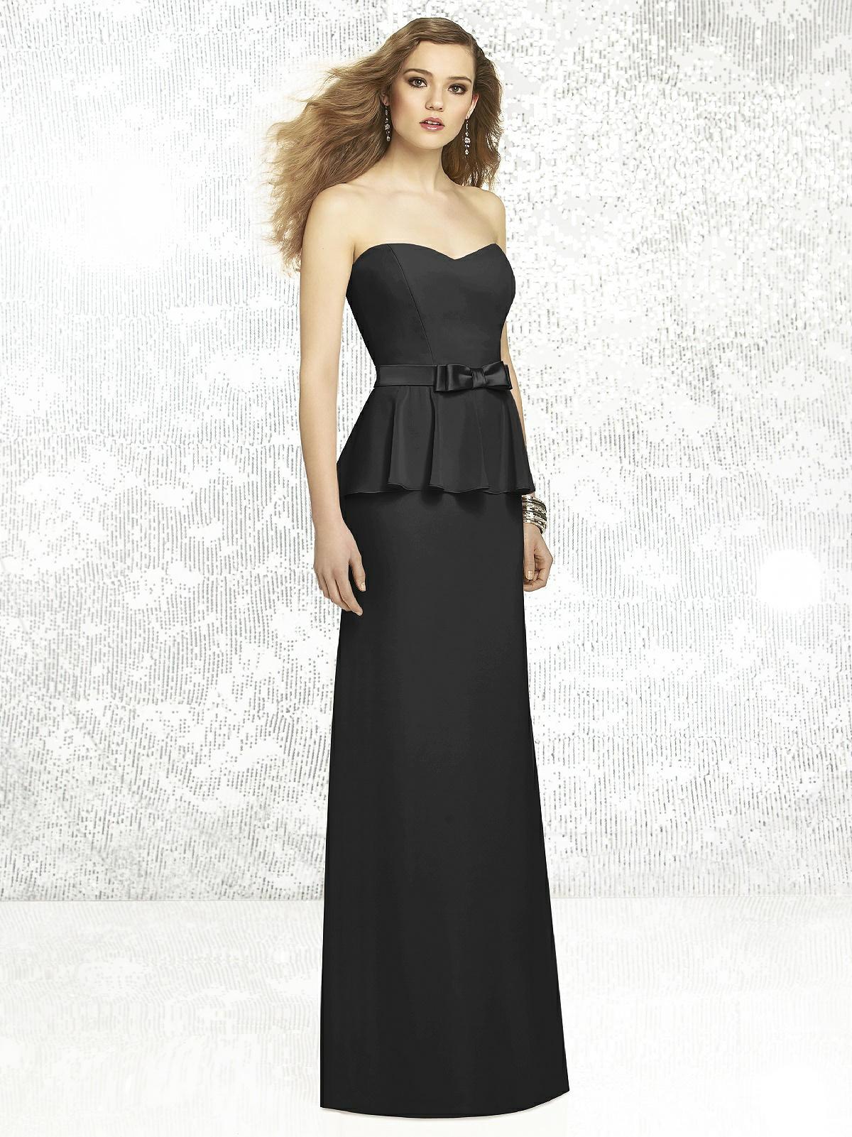 black bridesmaid dress with peplum