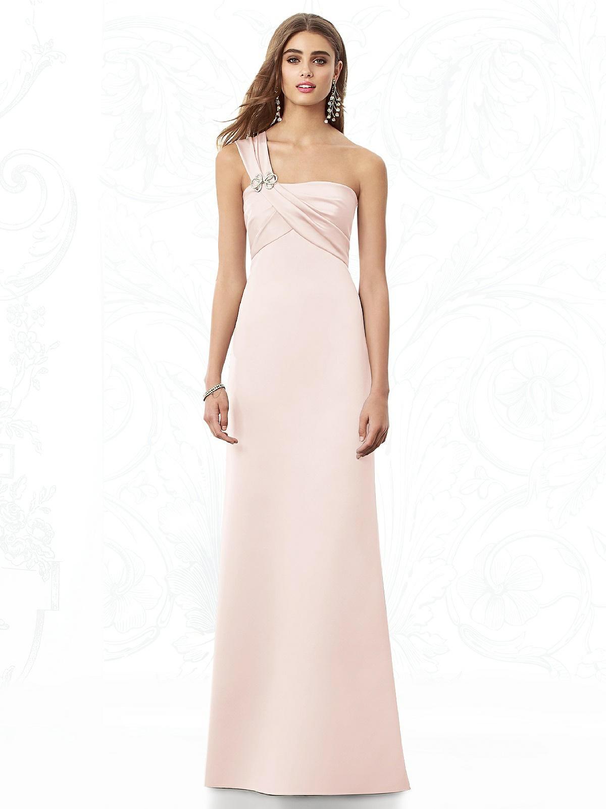 light pink one shoulder bridesmaid dress