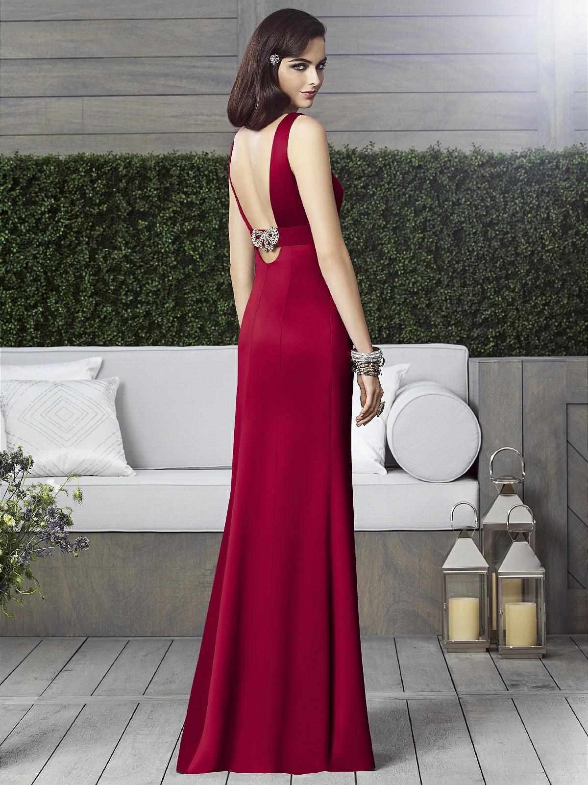 satin claret bridesmaid dress