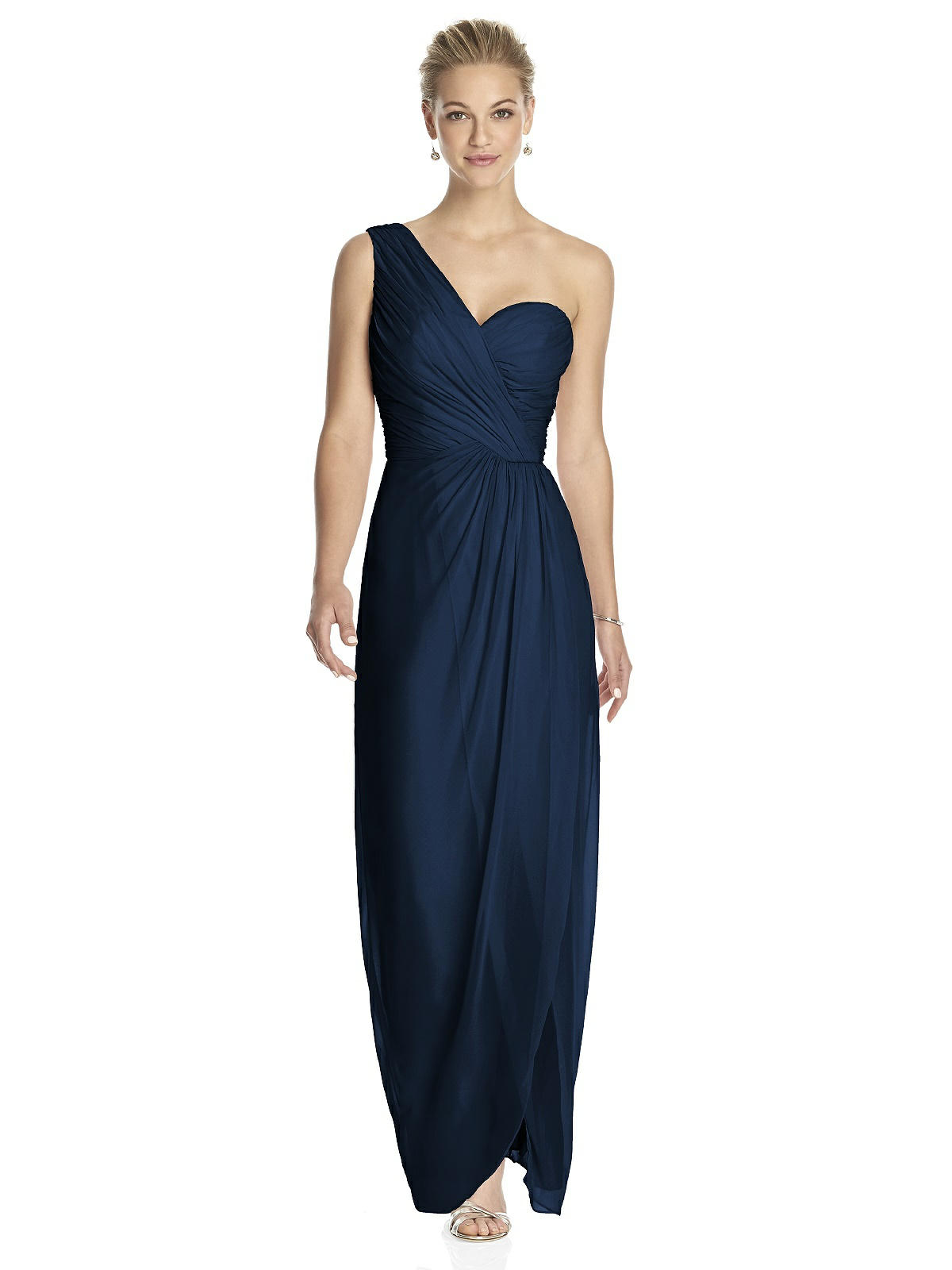 Why you might want to dress your bridesmaids in black long midnight blue one shoulder bridesmaid dress ombrellifo Images
