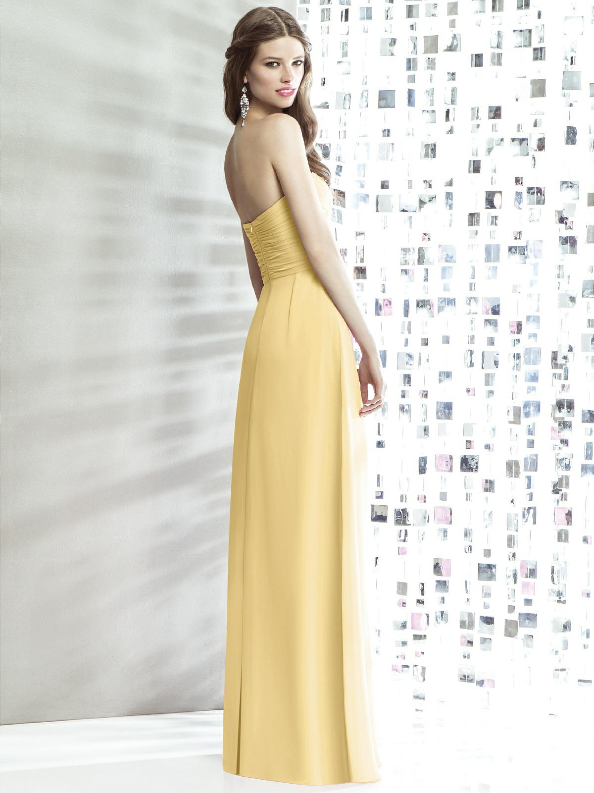 yellow halter neck bridesmaid dress