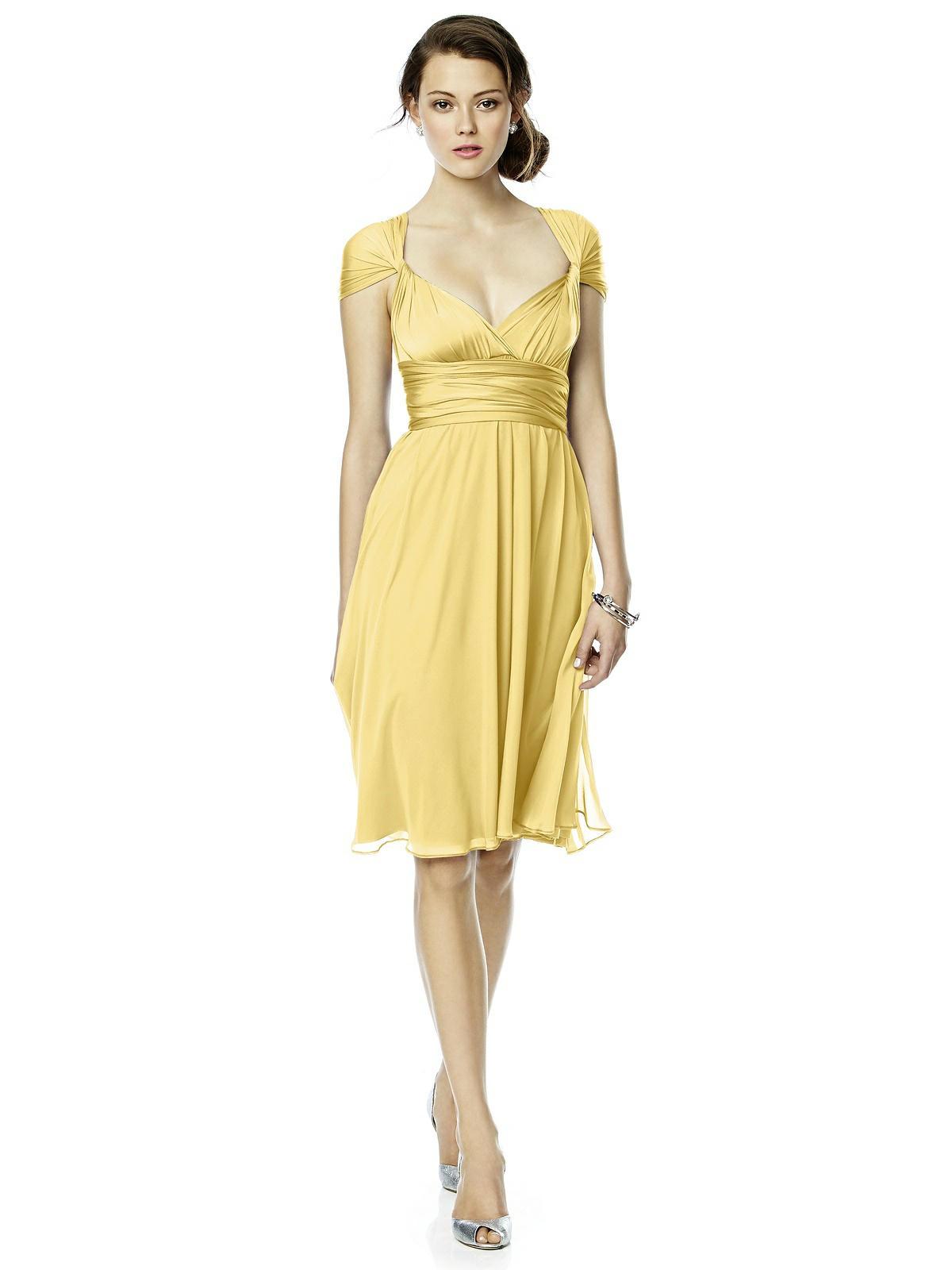buttercup yellow twist wrap dress