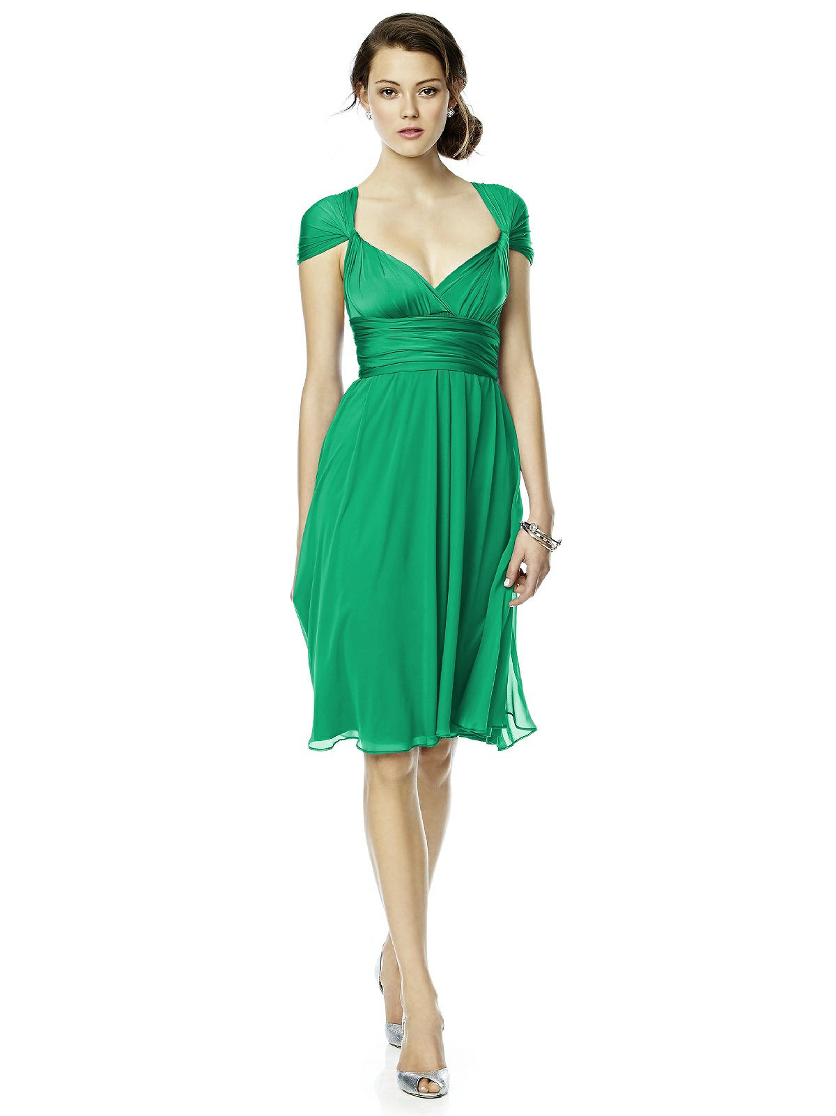 emerald green twist wrap dress by Dessy