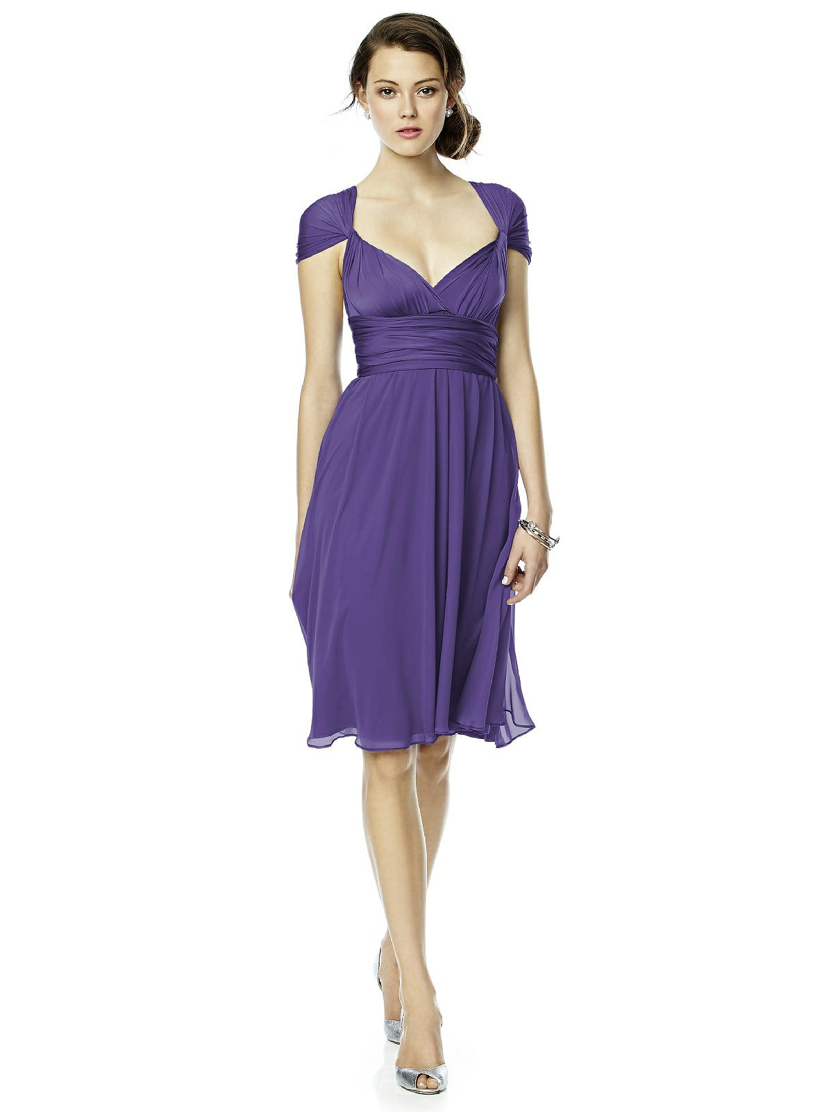 purple chiffon twist dress
