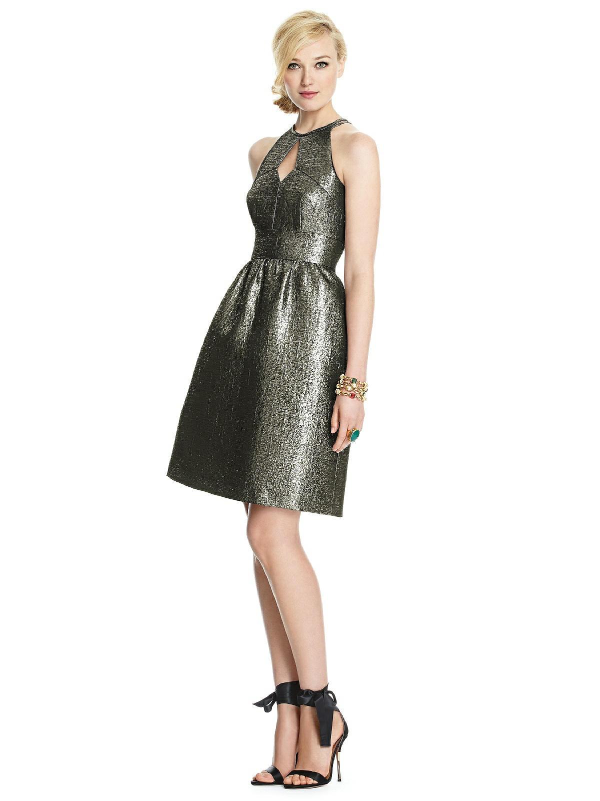 gold lame bridesmaid dress
