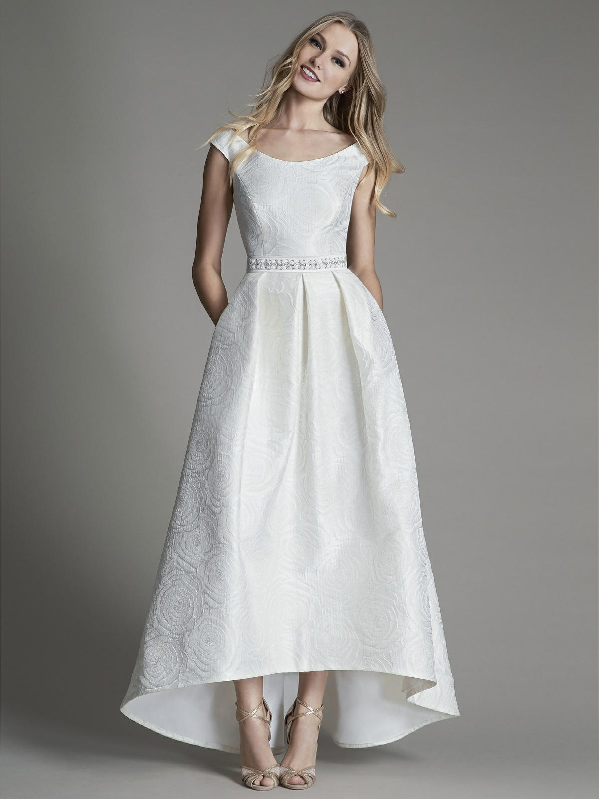 wedding dress showing off ankles