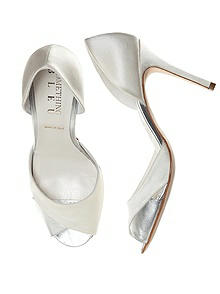 Curvey Satin and Silver Bridal Pump