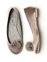 Crinkle Chiffon Flower Pom Pom Shoe Clip