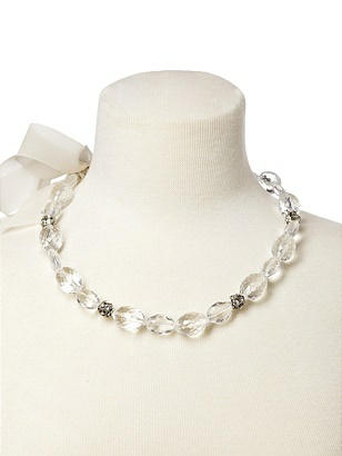 Faceted Resin Necklace with Rhinestone Accents http://www.dessy.com/accessories/resin-faceted-bead-necklace/