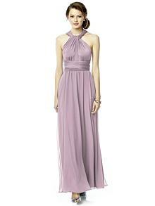 Twist Wrap Dress w/ Chiffon Overskirt: Long