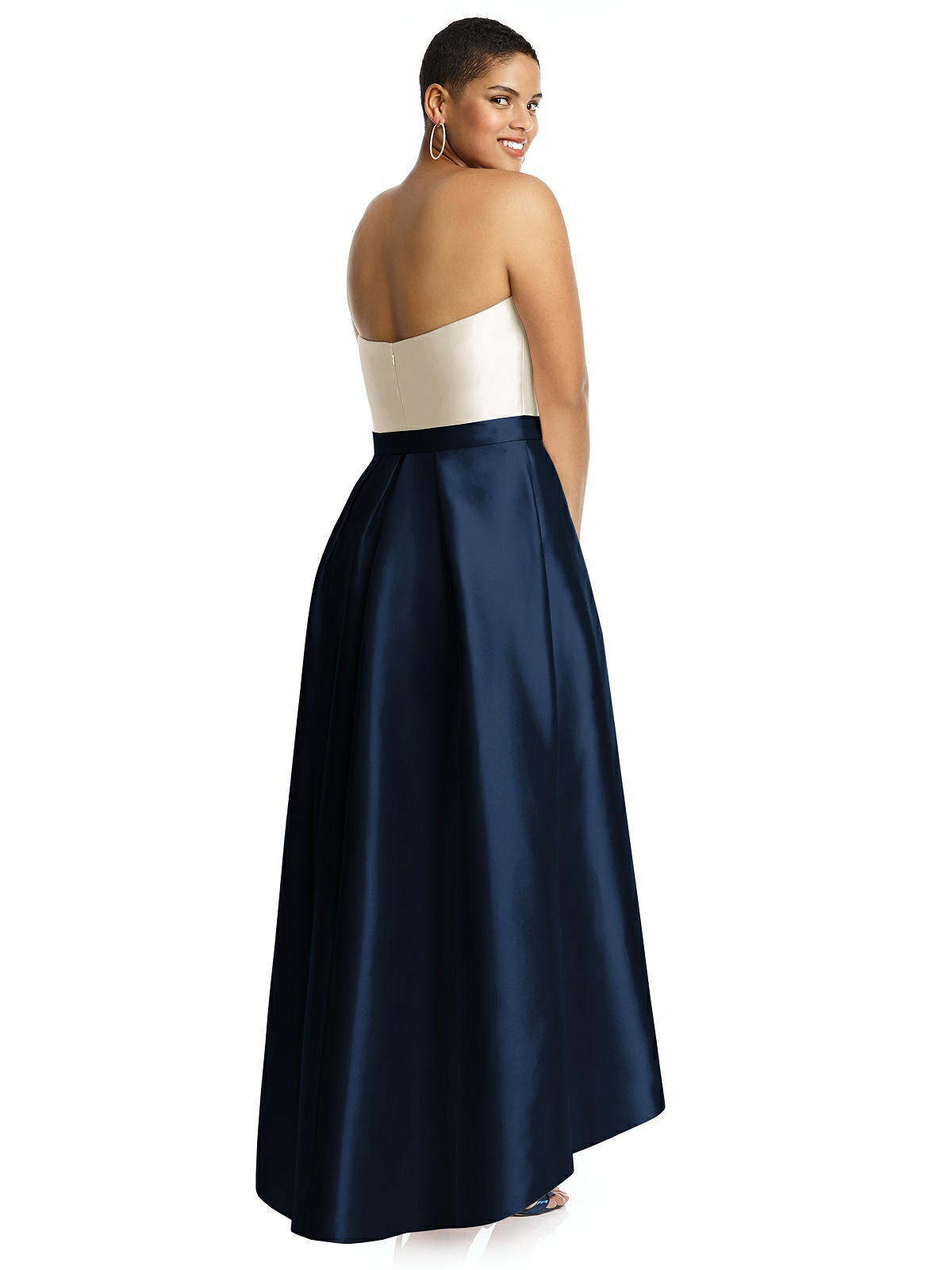 navy and white bridesmaid dress